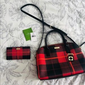 Kate Spade plaid purse and wallet ♠️